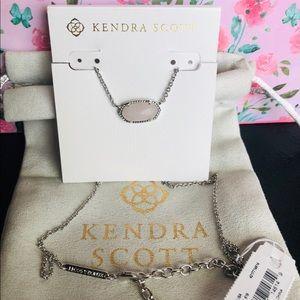 Kendra Scott NWT Elisa Rose Quartz Silver Necklace